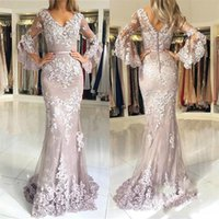Wholesale maternity light gray dresses online - 2019 Illusion Mermaid Lace Evening Dresses Lace Long Puffy Sleeve V Neck Party Formal Arbric Robe De Soiree Long Prom Dresses Pageant Gowns