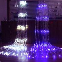şelale perdeleri toptan satış-6 MX 3 M 640 LED Su Akış Snowing Etkisi Perde Led Şelale Dize Işıklar 3 MX 3 M Noel Noel Düğün Arka Plan Bahçe 110 V-240 V