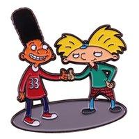 cabeças de pino venda por atacado-Hey Arnold esmalte pin Gerald chapéu de futebol cabeça crachá Nickelodeon broche dos desenhos animados 90s nostálgico jóias melhores amigos presente