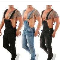 мужская толстовка оптовых-2019 New Style Mens Overalls Jeans Straight Slim Strap Jeans European and American Style 3 Colors Size S-2XL