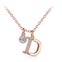 Wholesale letter d pendant for sale - ERLUER D Letter Charm Necklace Fashion Wedding Jewelry Rose Gold Silver Color Zircon Necklaces Pendants For Women Girls Gift