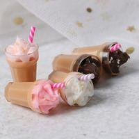 Wholesale toy chocolate resale online - 1 Dollhouse Miniature Scene Model Drink Pretend Play Simulation Strawberry Chocolate Milkshake Accessories Kids Kitchen Toy