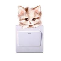 ingrosso interruttore di arte adesiva in vinile-Lovely 3D Cats Dog Switch Switch Sticker per la decorazione domestica Soggiorno camera da letto carino Animale Vinile Decalcomania Art Poster interruttore adesivi murali