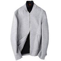 ingrosso giacche da baseball in lana uomini-Autunno Inverno Giacca Uomo 100% Cappotto di lana Doppio lato Cappotto di lana Uomo Streetwear Giacche da baseball Cappotti corti Abrigo Hombre MY1882