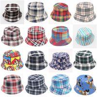 Wholesale baby boy flat hats resale online - Children Grid Bucket Hat Casual Boy Girl Flower Sun Hat Cute KidsTravel Sport Fisherman Caps Baby Beanie Caps TTA1215