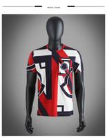 размер головоломки оптовых-2019 лето мужские дизайнерские футболки геометрическая вышивка цвет соответствия цвет дизайнер рубашка головоломка шелк хлопок футболка размер M-3XL