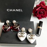 kırmızı akrilik küpeler toptan satış-En kaliteli küpe kırmızı ve beyaz akrilik ve logosu ile kadınlar için anne hediye Marka ücretsiz kargo PS6697A