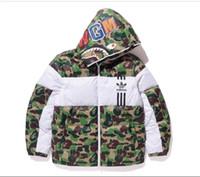 kapüşonlu paltolar desenleri toptan satış-Erkekler Tasarımcı Ceket Kaban Kapşonlu Lüks Kalın Coat Hoodie Uzun Kollu Desen Baskı Erkek Giysileri Için Hoodie Kış Rüzgarlık Fermuar