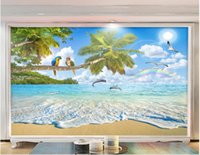 Wholesale paper scenery 3d resale online - WDBH custom photo d wall paper Natural scenery landscape coconut tree dolphin living room home decor d wall murals wallpaper for walls d