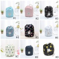 Wholesale round barrel bag for sale - Group buy 9colors Barrel Shaped Cosmetic Bags Drawstring Travel Cosmetic Bag Elegant Drum Wash Bag Flamingo Makeup Organizer Storage Bags GGA3198