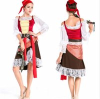 Wholesale Womens Pirate Costumes Cosplay Halloween Games Womens Dress Set Props Party Stagewear