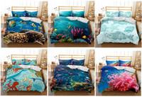 dibujos animados del océano al por mayor-El pez en el océano Juego de cama en 3D Estampado de funda nórdica juego de sábanas realistas, Doble, Completo, Reina, Rey