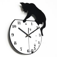 Wholesale clock room designing for sale - Group buy Cat Design Wall Clock Mute Battery Clocks Simple Black White Living Room Decorate Supplies Hot Sales Fashion Creative Sturdy Durable nrC1