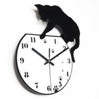 gato vivo venda por atacado-Projeto do gato Relógio de Parede Mudo Bateria Relógios Simples Preto Branco Sala de estar Decorar Suprimentos Vendas Quentes Moda Criativa Resistente Durável 26nrC1