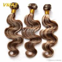 insan saçı brazilian örgü kahverengi toptan satış-Brezilyalı Vücut Dalga Virgin İnsan Saç Uzatma Ombre Renk Açık Kahverengi Brezilyalı İnsan Saç Piyano Renk # 8/613 İnsan VMAE Saç örgüleri