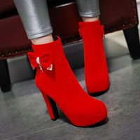 Wholesale diamond spring water resale online - European and American fashion new thick high heel bowknot water diamond wedding heighten female boots free shopping CYYY