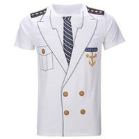 lustige erwachsene männer kostüme großhandel-Männer Kapitän Kostüm T-Shirts Lustige Cosplay Halloween T Erwachsener Mann Top Cowboy Pirat Clown Pilot Uniform Karneval 3D Plus Größe