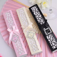 Fast shipping Luxurious Silk Fold hand Fan in Elegant Laser-Cut Gift Box (Black; Ivory) +Party Favors wedding Gifts