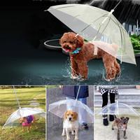 equipo para mascotas al por mayor-Transparente PE Pet Umbrella Small Dog Puppy Umbrella Rain Gear con correas para perros Keeps Pet Travel Outdoors Supplies DHL HH9-2108