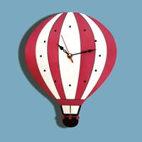 globo acrílico al por mayor-New Cartoon Hot Rosy Air Balloon Reloj de pared Relojes de silencio Colorido Acrílico Reloj de pared Regalo único para niños
