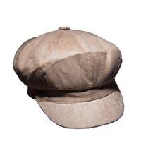ingrosso berretti di pelliccia-Beret Homme Autunno e Inverno Nuovo selvaggio tinta unita berretto ottagonale Retro caldo scamosciata Cap Faux Fur per le donne Casual per adulti