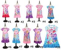 vêtements de nuit d'été pour enfants achat en gros de-INS filles enfant robe d'été sans manches de dessin animé ponys imprimer des robes jupes mignon maison pyjama enfants chemise de nuit vêtements de nuit B361