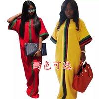 ingrosso vestito dalla banda gialla-Summer Women Casual Maxi Dresses Designer di marca Stripe Ribbon Pocket 1/2 Kimono Sleeve Allentato Piano Lunghezza Abito Verde Giallo Rosso