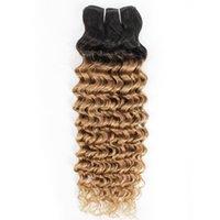 ingrosso capelli indiani due toni-Fasci di tessuto capelli ricci indiani ad onda profonda 1B / 27 Ombre Miele di capelli biondi a due toni 1 pacchi Estensioni per capelli malesi peruviani 10-24 pollici