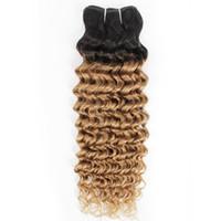 rubio profundo del pelo indio al por mayor-Paquetes de armadura de cabello rizado de onda profunda india 1B / 27 Ombre Honey Blonde Two Tone 1 Bundles Extensiones de cabello humano de Malasia peruana de 10-24 pulgadas