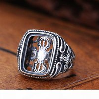 Wholesale vintage sterling silver ring mountings for sale - Group buy Real Sterling Silver Semi Mount Engagement Men Ring Cushion Cabochon x17mm Vintage Art Deco Adjustable