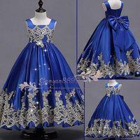 güzel mavi kızlar elbiseli elbise toptan satış-Özel Yapılmış 2019 Güzel kraliyet mavi Çiçek Kız Elbise Düğün İçin Pretty Örgün Kız Törenlerinde dantel Saten Kabarık Pageant Elbise ucuz