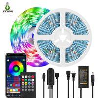 Bluetooth LED Strip Lights Wireless Smart App Controlled Light Strip Kit 16.4ft 32.8ft 30Leds M 5050 LED Lights Adapter Included
