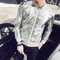 ropa de talla más al por mayor-5XL Verano Hombres Chaqueta de Bombardero Moda 2018 Slim Fit Ropa de Protección Solar Chaquetas Brillantes de Plata Para Hombre Talla grande Abrigos Hombre