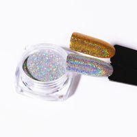 parlak toz tozu toptan satış-Glitter 1g Lazer Altın Gümüş Holografik Parlak Toz Sihirli Ayna Toz Nail Art Pullarda Krom Pigment Oje Dust Glitters