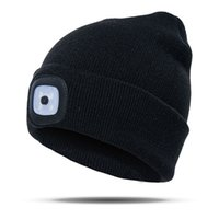 Wholesale led lighted hats for sale - Group buy Climbing LED Light Beanie Hat Running Fishing Unisex Camping Knitted Outdoor