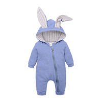Wholesale halloween costumes for infants resale online - Cute Rabbit Ear Hooded Baby Rompers For Boys Girls Newborn bunny ear Climbing clothes Jumpsuit Infant Costume Baby sleeping bags COLORC5761
