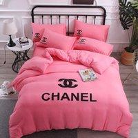 edredón de algodón puro al por mayor-La moda del rosa de sitio adorna la cubierta de cama de lujo juegos de cama de algodón doble funda nórdica color puro juegos de impresión de cama