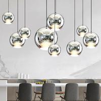ayna topu ışıkları modern toptan satış-LukLoy Modern Dixon Stil Ayna Cam Top Kolye Işıkları Bakır Renk Küre Lamba Kolye Işık Modern Aydınlatma Armatürleri 1 adet