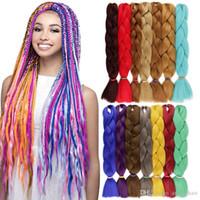 Wholesale color 33 braiding hair for sale - Group buy Xpression Braiding Hair Extensions Soild Color Synthetic Braiding Hair Box Braids g inch Crochet Braids Kanekalon Braiding Hair
