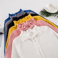 lindos suéteres de encaje al por mayor-2018 Otoño Invierno Jersey de punto Jersey Pull Femme Cute Warm White Yellow Lace Up Ruffles Turtleneck Women Sweater Jumper