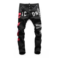 siyah klasik kot erkekler toptan satış-Yaz Erkek Kot Yeni Moda Erkekler Tasarımcı Klasik Kot Hip Hop Pantolon Siyah Erkekler Kot 28-38