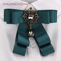 moda kumaş broşlar toptan satış-Kadınlar Için Vintage Moda Kumaş Yay Broşlar Boyun Kravat Pins Parti Düğün Büyük Şerit Broş Takı Giyim Aksesuarları Hediyeler