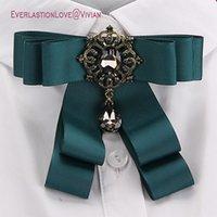 ingrosso grande spilla per gioielli-Vintage Fashion Bow Bow Spille per le donne Neck Tie Pins Wedding Party Large Ribbon Spilla Gioielli Abbigliamento Accessori Regali
