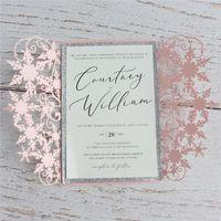 einladungsdekoration zubehör großhandel-Hübsche Party Einladungskarte mit einhüllen Glittersilbergrenzeinsatzblumenereignis-Dekorationszusätze