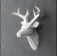 Wholesale deers head resale online - 60cm high hand made diy paper deer wall hanging deer head sculpture home decoration living room craft DIY marine animal wall decoration