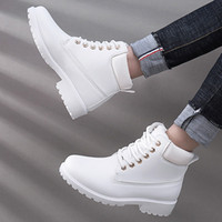 пушистые зимние сапоги женщины оптовых-Ankle Boots for Women 2019 New Lace-up Plush  Snow Boots Women Shoes Furry  British Wind Warm Winter