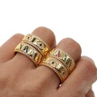 hip pop jóias venda por atacado-2019 Nova Moda evil eye anel de dedo para as mulheres do sexo masculino ouro polido hip pop homens anel pavimentar azul cz declaração de casamento fino jóias