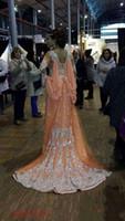 ingrosso elegante arabica caftan abayas-2019 New Elegant Kaftan Abaya abiti da sera in rilievo in rilievo paillettes appliques chiffon abiti lunghi formale Dubai abiti da ballo musulmano 170