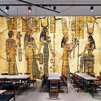 Wholesale egyptian oil paintings for sale - Group buy Dropship Custom Wall Mural Wallpaper For Walls D Retro Nostalgia Egyptian Characters Oil Painting Living Room Restaurant Backdrop Decor