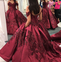 Wholesale dark purple satin girls dress resale online - Burgundy Dark Red quinceanera dresses With Sequin Appliqued floor Length Sweet girl prom evening dresses dubai Arabic